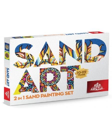 Dviejų dalių piešimo smėliu rinkinys - Liūtas, Mandala