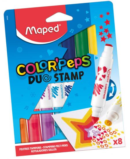 Flomasteriai su antspaudais MAPED, 8 spalvos