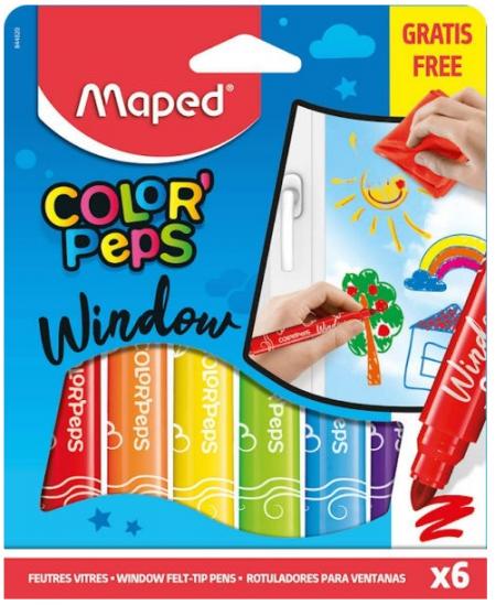 Flomasteriai stiklui MAPED, 6 spalvos