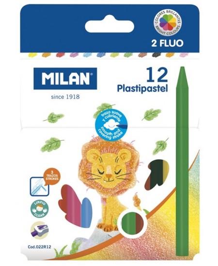 Plastikinės spalvotos kreidelės MILAN, tribriaunės, 12 spalvų