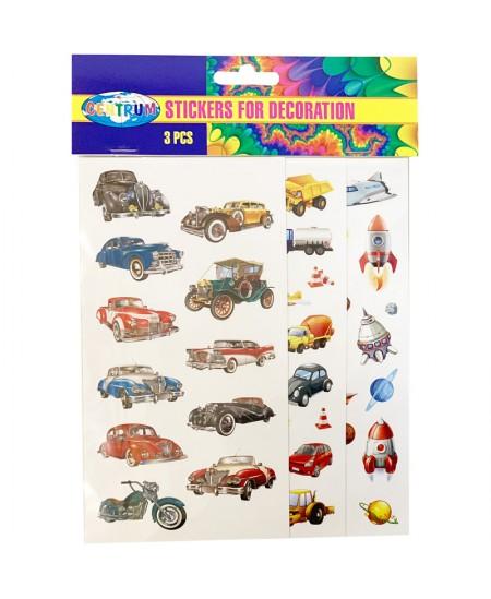 "Dekoratyviniai lipdukai CENTRUM ""Automobiliai"", 40x15 mm, 10x10 mm."
