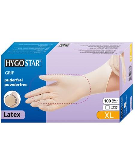 Vienkartinės lateksinės pirštinės HYGONORM Grip, XL dydis, baltos, 100 vnt.