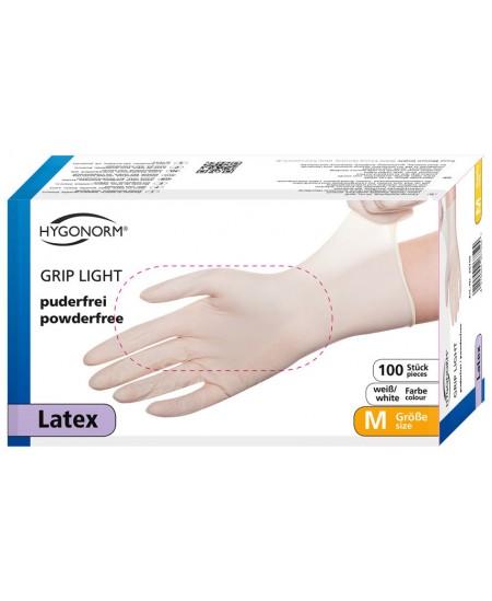Vienkartinės lateksinės pirštinės HYGONORM Grip Light, M dydis, baltos, 100 vnt.