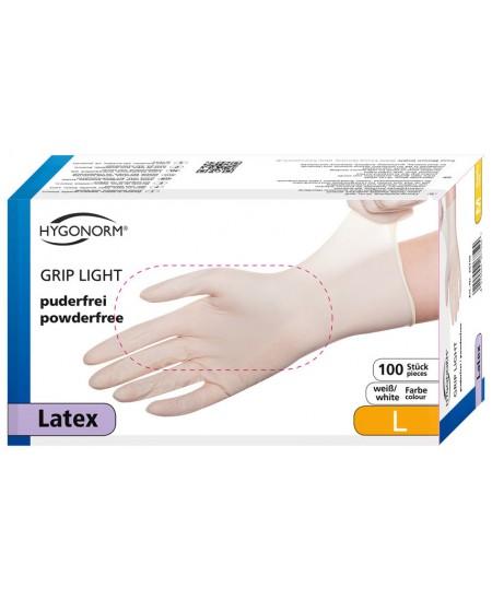 Vienkartinės lateksinės pirštinės HYGONORM Grip Light, L dydis, baltos, 100 vnt.