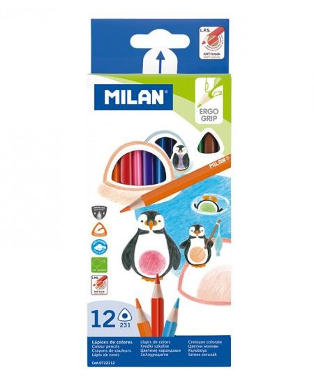 Spalvoti pieštukai MILAN 312, 12 spalvų