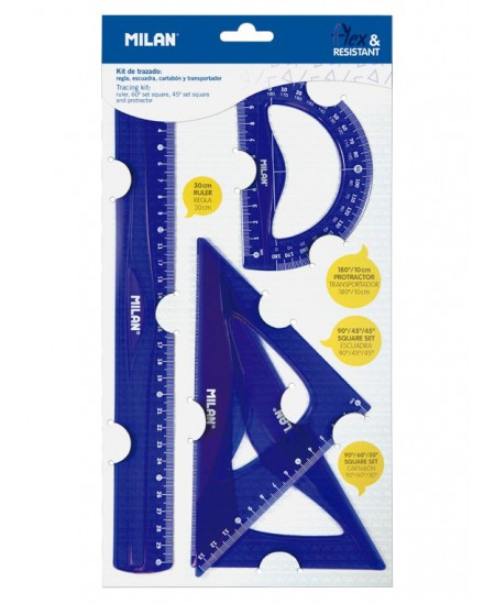 Liniuočių rinkinys MILAN Flex, mėlynas