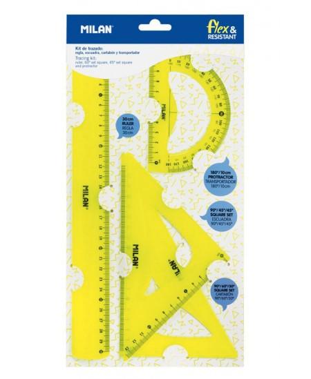 Liniuočių rinkinys MILAN Flex, geltonas