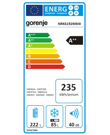 Gorenje Refrigerator NRK6192MX4I A++, Free standing, Combi, Height 191 cm, No Frost system, Fridge net capacity 222 L, Freezer n