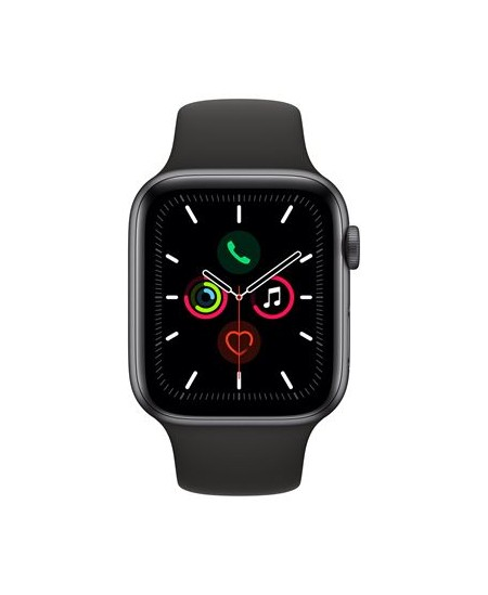 Apple Watch Series 5 GPS, 44mm Space Grey Aluminium Case with Black Sport Band - S/M & M/L/