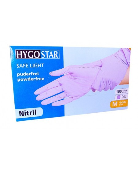 Vienkartinės sintetinės pirštinės HYGOSTAR SAFE LIGHT, M dydis, violetinės, 100 vnt.