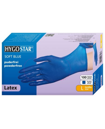 Vienkartinės lateksinės pirštinės HYGOSTAR SOFT BLUE, L dydis, mėlynos, 100 vnt.