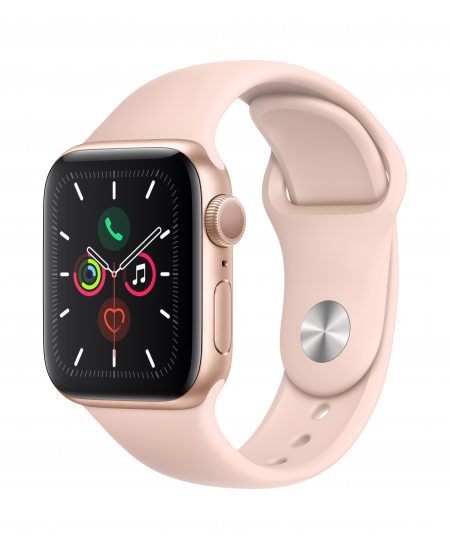 Apple Watch Series 5 GPS, 40mm Gold Aluminium Case with Pink Sand Sport Band LT