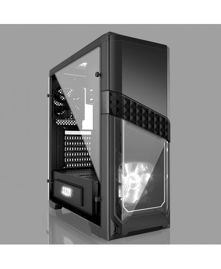 AZZA Titan 240 X, Tempered Glass Side window, USB 3.0 x2, USB 2.0 x2, Mic x1,Spk x1, Black, ATX, Power supply included No