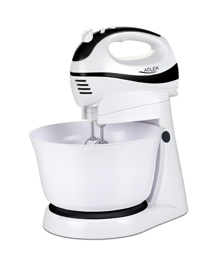 Hand Mixer Adler AD 4206 White, Hand Mixer, 300 W, Number of speeds 5, Shaft material Stainless steel