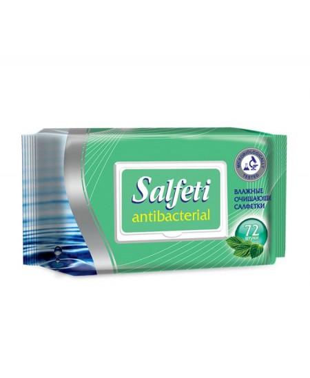 Antibakterinės drėgnos rankų servetėlės SALFETI, pakuotėje su plastikiniu dangteliu, 72 vnt.