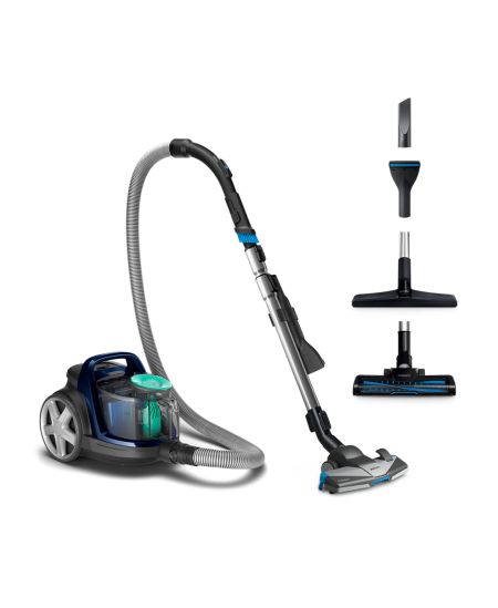 Philips PowerPro Active vacuum cleaner  FC9556/09 Bagless, Louros Blue, 750 W, 1.5 L, 76 dB, HEPA filtration system,