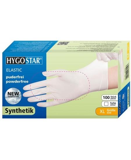 Vienkartinės sintetinės pirštinės HYGOSTAR ELASTIC, XL dydis, baltos, 100 vnt.