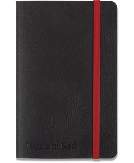 Užrašų knygelė OXFORD Black n´Red su gumele ir skirtuku, kietu viršeliu, A6, 72 lapų, linija, juoda