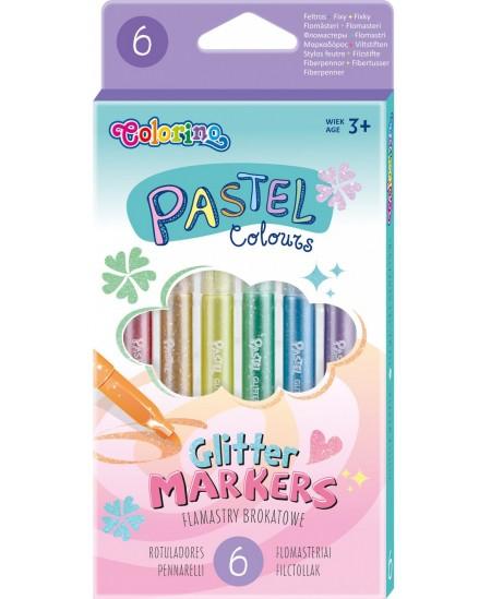 Blizgūs flomasteriai COLORINO Pastel, 6 spalvos