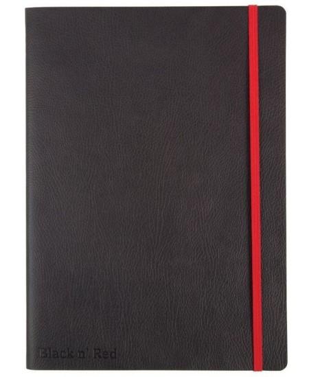 Užrašų knygelė OXFORD Black n´Red su gumele ir skirtuku, minkštu viršeliu, A6, 72 lapų, linija, juoda