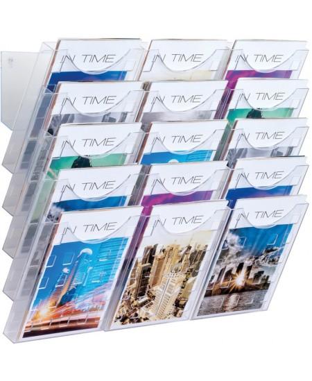 Sieninis dėklas brošiūroms HELIT, 240x40x574 mm, 5 skyrių, skaidrus