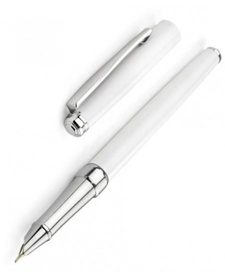 Plunksnakotis PRESTIGE, baltas lakuotas korpusas su sidabro spalvos detalėmis