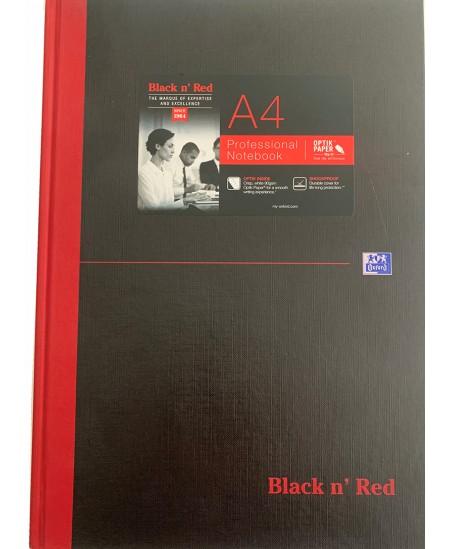 Užrašų knygelė OXFORD Black n´Red su skirtuku, A4, 96 lapų, langeliais, juoda