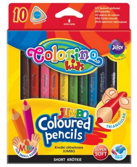 Spalvoti pieštukai COLORINO JUMBO, tribriauniai, 10 spalvų