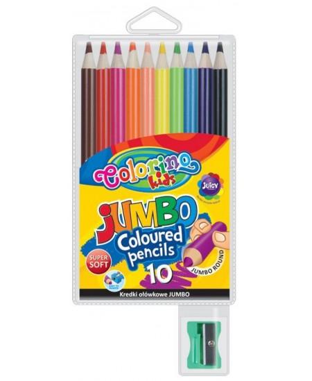 Spalvoti pieštukai COLORINO JUMBO, apvalūs, su drožtuku 10 spalvų