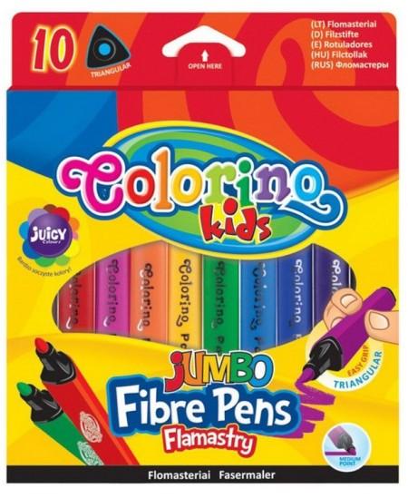 Flomasteriai COLORINO JUMBO, tribriauniai, 10 spalvų