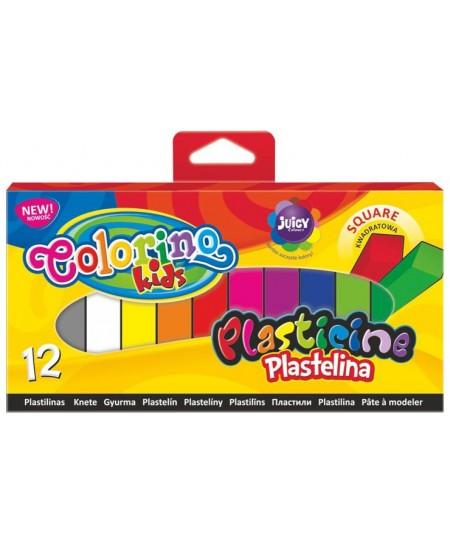 Plastilinas COLORINO, kvadratinis, 12 spalvų