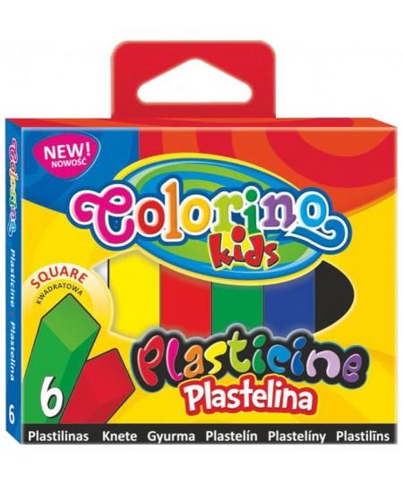 Plastilinas COLORINO, kvadratinis, 6 spalvų