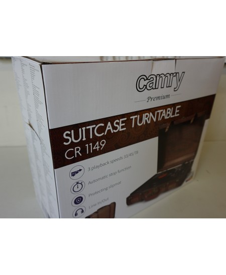 SALE OUT. Camry CR 1149 Turntable suitcase, 45RPM, 3 playback speeds: 33/45/78 RP, brown Camry Turntable suitcase CR 1149 Warran
