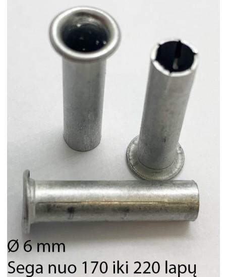 Kniedės, 6 mm, sega nuo 170 iki 220 lapų, 150 vnt.