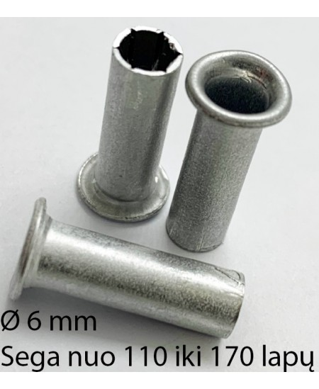 Kniedės, 6 mm, sega nuo 110 iki 200 lapų, 200 vnt.