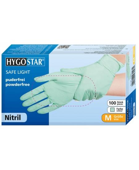 Vienkartinės nitrilinės pirštinės HYGONORM SAFE LIGHT, M dydis, žalios, 100 vnt.