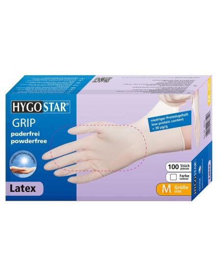 Vienkartinės lateksinės pirštinės HYGONORM Grip, M dydis, baltos, 100 vnt.