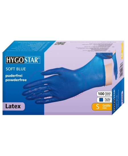 Vienkartinės lateksinės pirštinės HYGOSTAR SOFT S dydis, mėlynos, 100 vnt.