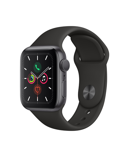 Apple Watch Series 5 GPS, 40mm Space Grey Aluminium Case with Black Sport Band LT