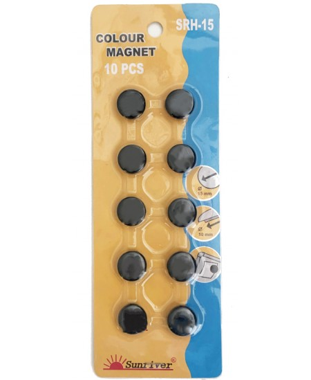 Magnetai ARGO 15mm 10vnt., juodi