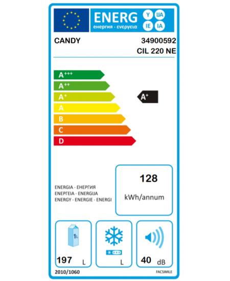 Candy Refrigerator CIL 220 NE A+, Free standing, Larder, Height 122.5 cm, Fridge net capacity 197 L, 40 dB, White