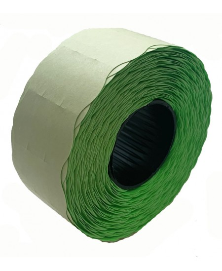 Kainų etiketės 26x16mm, su bangele, 1000vnt., žalios sp.