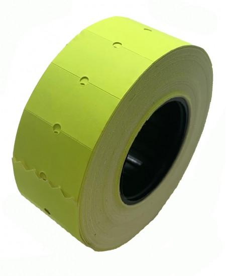 Kainų etiketės 21,5x12mm, stačiakampės, 1000vnt., geltonos sp.