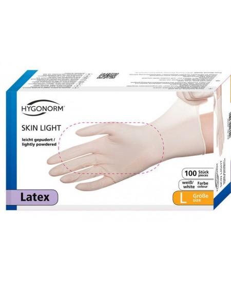 Vienkartinės lateksinės pirštinės su pudra SKIN LIGHT, L dydis, baltos, 100 vnt.