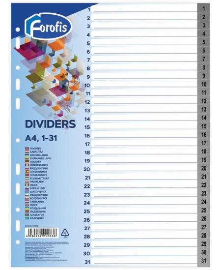 Skiriamieji lapai FOROFIS, 1-31, vienspalviai, A4