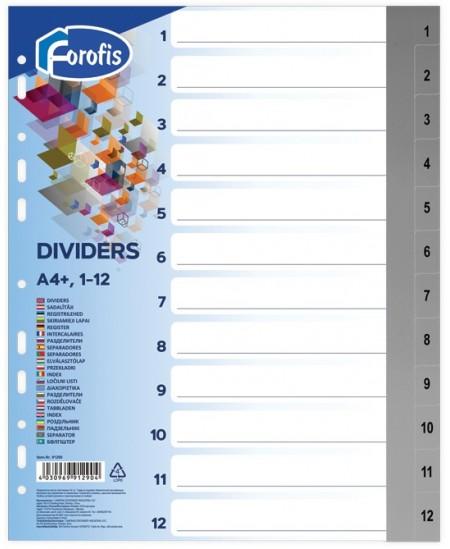 Skiriamieji lapai FOROFIS, 1-12, spalvoti, A4