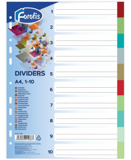 Skiriamieji lapai FOROFIS, 1-10, spalvoti, A4