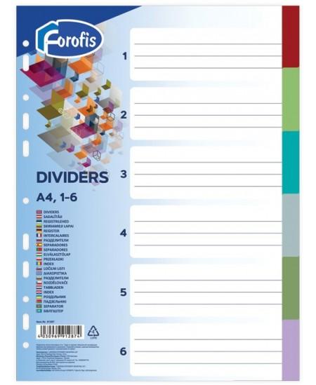 Skiriamieji lapai FOROFIS, 1-6, spalvoti, A4