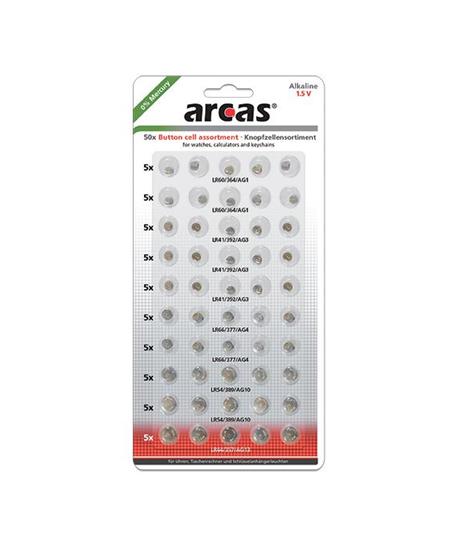 Arcas AG Set (10xAG1, 15xAG3, 10xAG4,  10xAG10, 5xAG13), Alkaline Button Cell, 50 pc(s)
