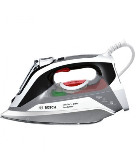Iron Bosch EasyComfort TDI90EASY Black/White, 2400 W, With cord, Continuous steam 55 g/min, Steam boost performance 200 g/min, A